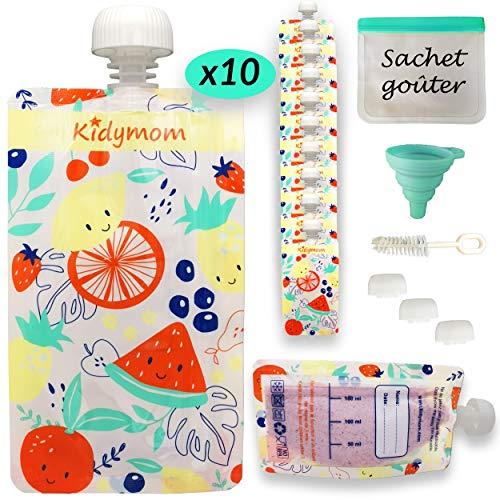 Bolsas reutilizables para comida de bebé o niños para compote/puré, rellenables y lavables, sin BPA, kit de 10 piezas reutilizables de 150 ml + bolsa de congelación reutilizable