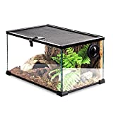 x-speed Verre De Terrarium De Grenouille À La Corne Reptile Transparente Et Facile À Observer Amphibie (Color : Black, Size : 31 * 31 * 20cm)