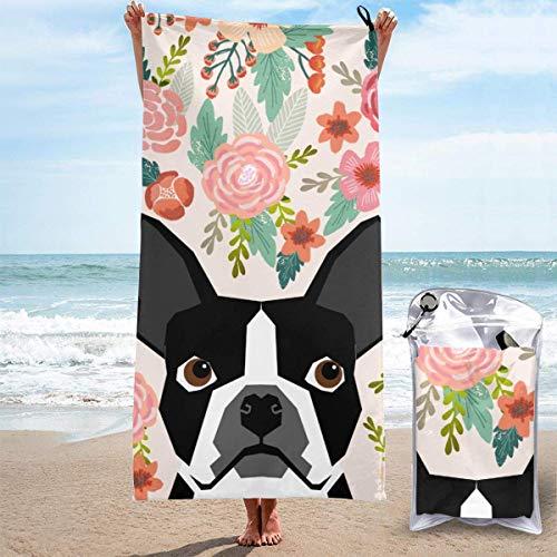 FETEAM Toallas de Playa de Secado rápido con Bolsillo, Boston Terrier Dog Soft Sand Free Pool Bath Toalla de Viaje al Aire Libre para Acampar Nadar Yoga Deportes