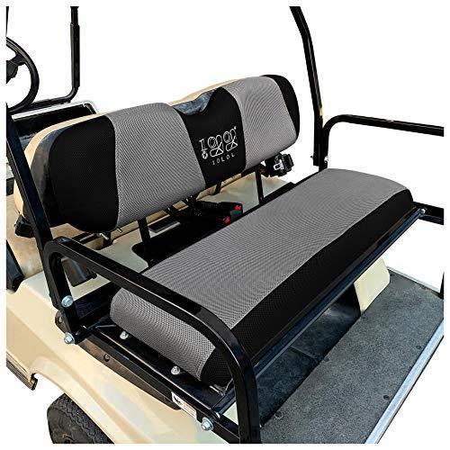 10L0L Universal Golf Cart Rear Flip Back Seat Cover for EZGO, Club Car, Yamaha, Winter Warmer Air Mesh Nonslip Pad - Gray Black