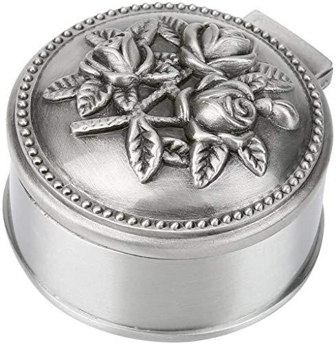 YYQLLXH Diseño de grabado vintage de caja de joyería redonda de flor rosa, joyero de aleación de zinc, joyería pequeña, utilizada para almacenamiento de anillos, regalos para damas