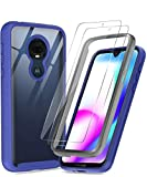 Moto G7 Case, Moto G7 Plus Case with Tempered Glass Screen Protector [2 Pack], LeYi Full-Body Rugged Hybrid Bumper Shockproof Clear Protective Phone Cover Cases for Motorola Moto G7 Navy Blue