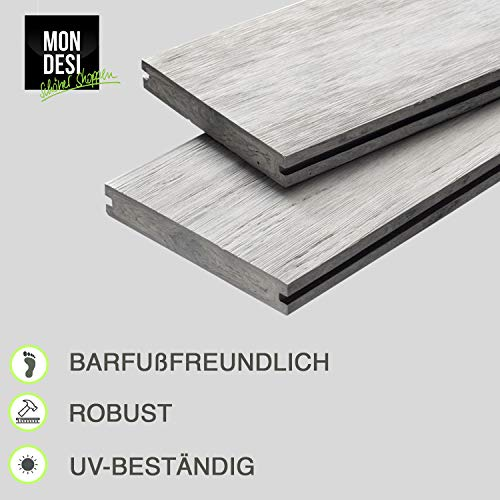 WPC Terrassendielen Massivdiele Antik - Komplett-Set Hellgrau | 9m²(3m x 3m) | Boden-Fliesen + Unterkonstruktion & Clips | Balkon Boden-Belag + rutschfest + witterungsbeständig - 3