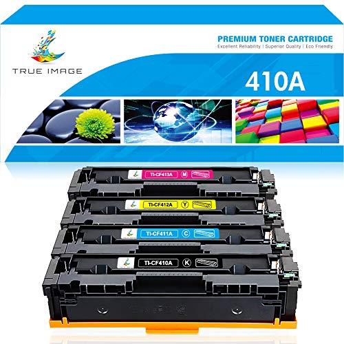 True Image Compatible Toner Cartridge Replacement for HP 410A CF410A CF411A CF412A CF413A Laserjet Pro M477fnw M477fdw M477fdn M452dw M452dn M452nw M477 M452 (Black Cyan Yellow Magenta, 4-Pack)