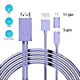 Comter Adaptateur Câble MHL vers HDMI Compatible avec Android Samsung Galaxy S5, S4, S3, Note 3, Note 2 (Violet)