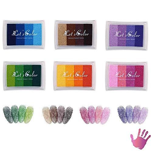 AILANDA 24 Colores Almohadillas de Tinta para Niños Lavable Rainbow Finger Ink Pad para utilizar Con los Dedos Tarjetas Para Manualidades Sellos de Caucho