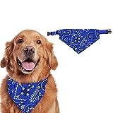 Sunshine smile Bandana Perro de Navidad,Pañuelo de Cabeza para Mascotas,Pañuelo de Navidad de Perro, Disfraz para Mascota, Pañuelo para Perro Navidad, Baberos para Mascotas (S, Azul)