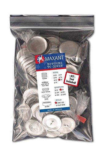 50 Knopfrohlinge zum Überziehen mit Draht Ösen - Größe 60 (38mm) mit Werkzeug - Cover Button