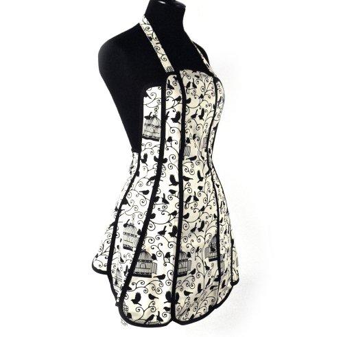 The British Textiles Co. Bird Cage - Panel apron 75x63 centimeter black beige bird pattern cotton