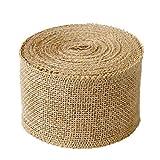 "Burlap Ribbon Burlap Fabric Ribbons 3.15"" Wide for Crafts, Finished Edging Natural Eco-Friendly JmYo Ribbon, 10.9yard Burlap Ribbon Roll or Christmas, Craft, Wreath, Wedding"