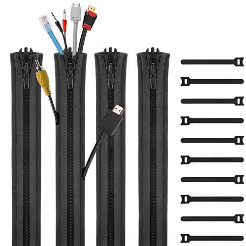 ENVPRFRケーブル収納カバー(4セット)ホーム/オフィス向けケーブル整理、ファスナーデザイン 防水、ペット噛みに耐え、ケーブル結束バンド(10本)、DIYで調整可能-黑色
