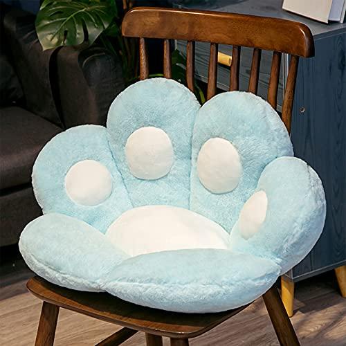 HTTC Stuhlkissen, Plüsch-Katzenpfotenkissen, Cartoon, halbgeschlossen, einteilig, faule Sofakissen, Kissen für Mädchen, hellblau