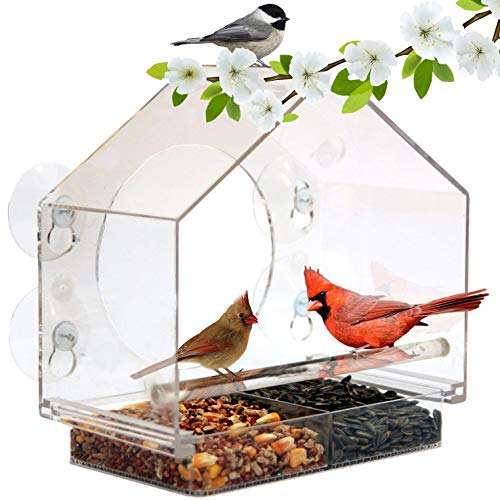 Window Bird House Feeder by Nature Anywhere with Sliding Seed Holder and 4 Extra Strong Suction Cups Large Bird feeders for Outside Birdhouse Shape