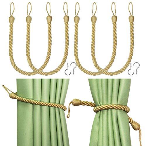 Fenghuangwu Curtain Tiebacks Ropes Tie-Backs, Handmade Curtain Holdbacks Made from Rayon with 2 Metal Screw Hooks - Gold 4 Pack