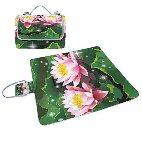 COOSUN Lotus Blumen Picknick Decke Tote Handlich Matte Mehltau resistent und wasserfest Camping Matte für Picknicks, Strände, Wandern, Reisen, Rving und Ausflüge