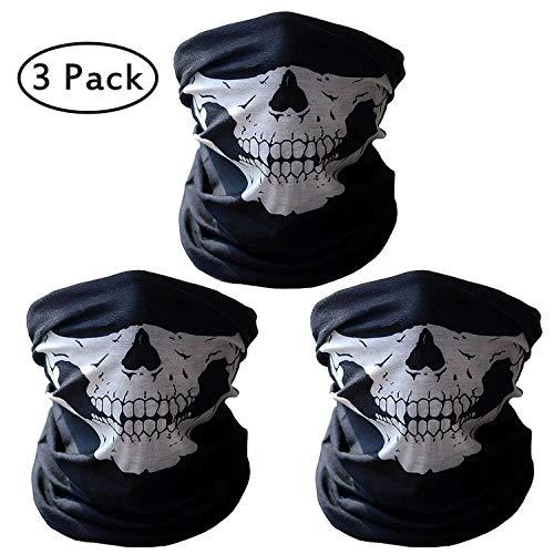 Kany 3 Stück Premium Sturmmaske Totenkopf Schwarz Skull Maske Sturmmaske Ghost für Motorrad Fahrrad Ski Paintball Gamer Karneval Kostüm Skull Maske