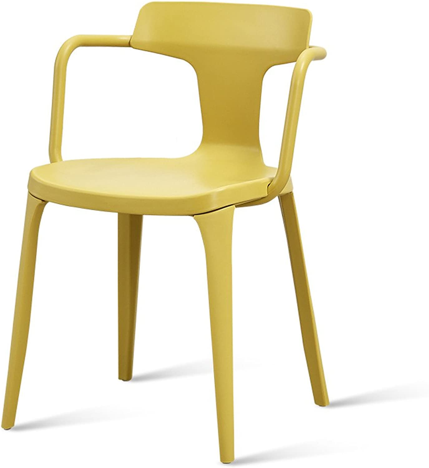 Plastic Stools Nordic Leisure Restaurant Desk Chair Lazy Backrest Chair Yellow Black Brown Dark Red (color   Yellow)