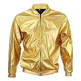 BFD Bomberjacke für Herren und Damen, metallisch, glänzend, leicht, schmale Passform, Silberfarben/Goldfarben Gr. S/M, gold