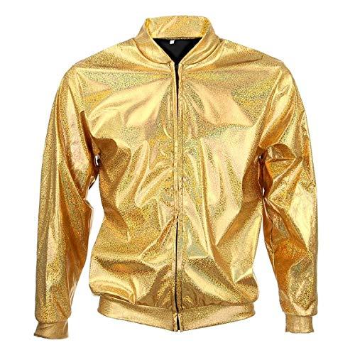 BFD bomberjack voor heren en dames, metallic, glanzend, licht, smalle pasvorm, zilverkleurig/goudkleuren