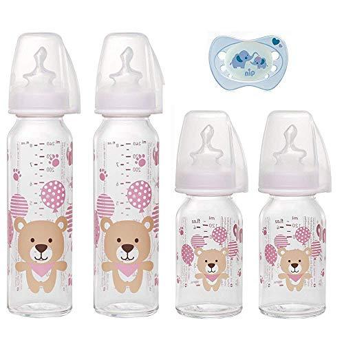 NIP Glas Flasche Uni // 4er Set // Glas-Babyflasche // 2 x Standardglasflasche 250 ml Trinksauger Gr. M // 2 x Standardglasflasche 125ml Trinksauger Gr. S // + nip Schnuller 0-6