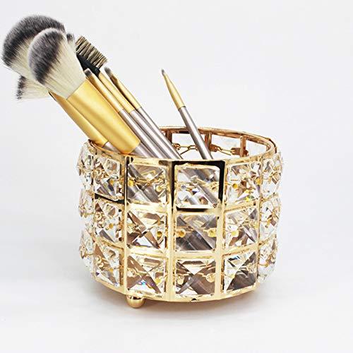 GFFTYX Soporte para Brochas de Maquillaje, Organizador de Brochas de Maquillaje, para Cejas, Lápices, Makeup Brush Cristal Cosmético Almacenamiento(Golden)
