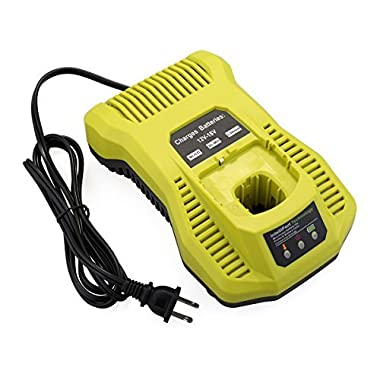 Biswaye Ni-Cad Ni-Mh & Li-ion 12V MAX and 18V MAX Dual Chemistry Battery Charger for Ryobi P100 P101 P102 P108 P117 P118 P200 18-Volt One+ Plus