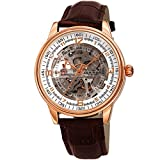 Akribos Skeleton Automatic Mechanical Men's Watch – Crocodile Embossed Genuine Leather Strap – Wristwatch See Through Dial -Great for Father's Day - AK1073 (Rose Gold/Brown)