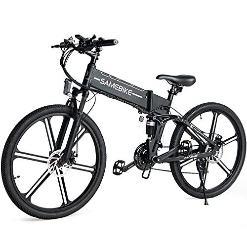 JINGJIN Bicicleta Eléctrica de Montaña, E-Bike MTB Pedal Assist, Batería de Litio 48V 10Ah, Bicicleta Eléctrica para Adultos 500W, Shimano 21 Speed, Amigo Fiable para Explorar,White