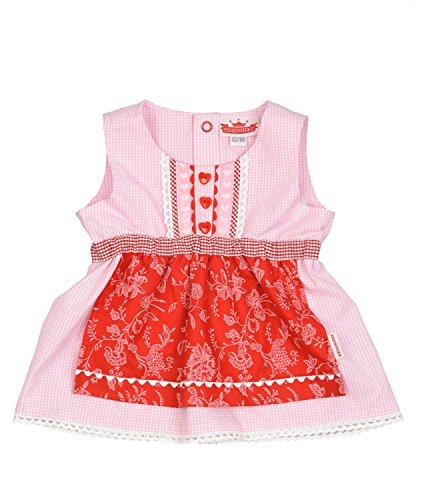 Eisenherz Mädchen Trachtenkleid Dirndl Baby mit angenähter Schürze rosa/rot in Größe 74/80