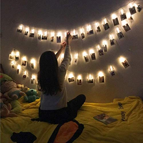 30 Led Photo Clip String Lights, Fairy Tale Lights Are Battery-powered To Hang Photo Picture Cards, Warm White Led Clip String Photo Clips For Party Bedroom Wedding Events