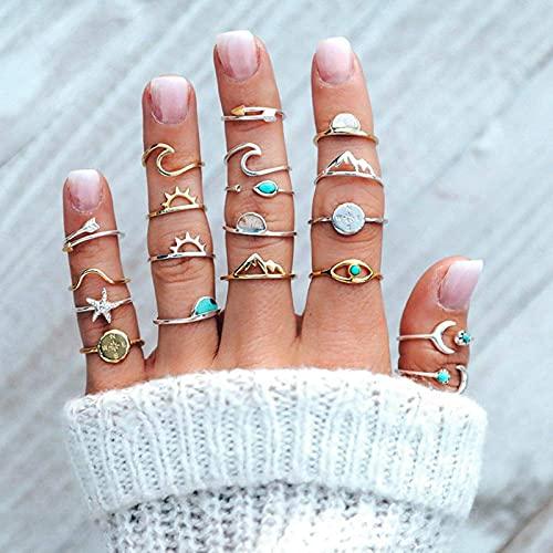 Younoo1 19 anillos de articulación de estrella y luna para mujeres y niñas, conjunto de anillos de moda elegante Midi apilables vintage 19 unidades
