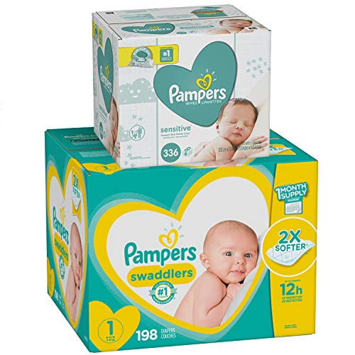 Diapers Size 1, 198 Count and Baby Wipes - Pampers Swaddlers Disposable Baby Diapers and Water Baby Wipes Sensitive Pop-Top Packs, 336 Count