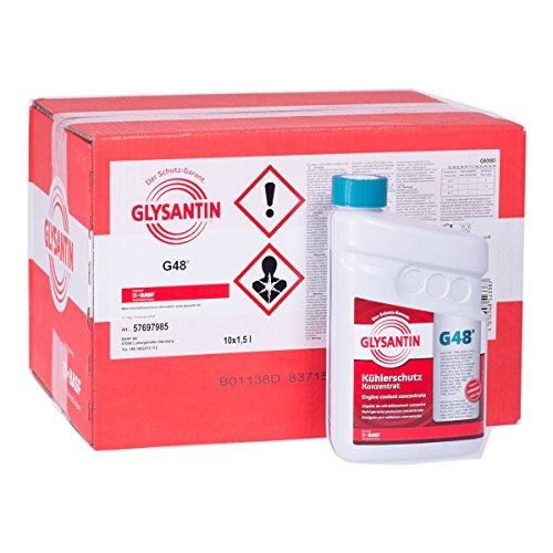 10x 1,5 L Liter Glysantin® G48® Kühlerfrostschutz Frostschutzmittel Frostschutz Kühlerschutz Kühlmittel Konzentrat Kühler Frost Schutz Mittel blaugrün