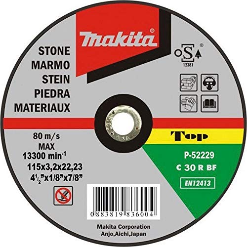 Makita P-52940 P-52940-Disco abrasivo para Corte de Piedra 125x22,23x3,2 mm, Mehrfarbig