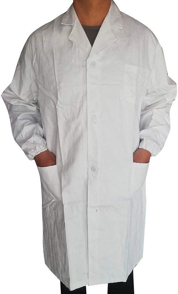 AKIMPE Women Men Unisex Lab Coat Long Sleeve White Outwear Blouse with Pockets