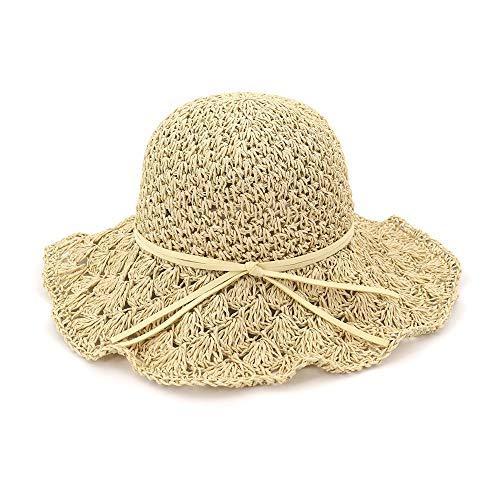 U/D HOUJHUS Sombrero del Cubo del Verano Sombrero de la Playa Mujeres del Verano Que doblan el Ganchillo Hollow Lady Sombrero for el Sol Cúpula Sombrero Sombrero de Paja
