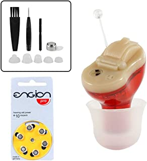 Electric Hearing Aid Amplifier Device, Mini Invisible Personal Sound Amplify Product in Ear Canal for Adults and Seniors, Red for Right Ear