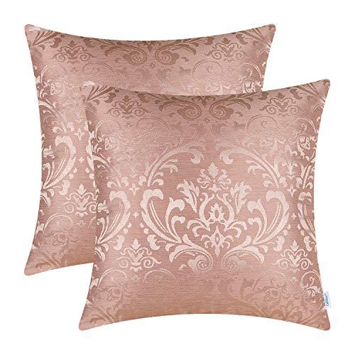CaliTime Kissenbezüge Kissenhülle Packung mit 2 Wurfkissenbezügen Cases Vintage Damast Floral Glänzend & Matt Kontrast 45cm x 45 cm Dusty Pink