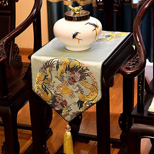 Geborduurde satijnen tafelloper met kwast, Chinees lichtblauw draak patroon kunst decoratieve lang, dik tafelkleed tafelloper voor home decor kantoor vergaderruimte hotel 45×240 cm (17.7×94.5 inch)