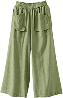 YKARITIANNA Women Comfy Casual Cotton and Linen Solid Color Trousers Loose Pant Leggings