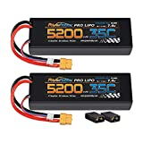 PowerHobby 2S 7.4V 5200mAh 35C Lipo Battery W XT60 Plug + Adapter 2-Cell (2) Compatible with: Traxxas Slash 4x4 4WD 2WD Stampede Rustler E-Revo E-Maxx Spartan M41 X-Maxx Brushless VXL