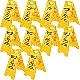 Mophorn Señal Seguridad Precaución Suelo Resbaladizo Cuando Está Mojado de Doble Cara Amarillo 10 PCS Adecuado para Restaurantes, Baños, Manteniendo a Peatones Al Tanto de Áreas Peligrosas