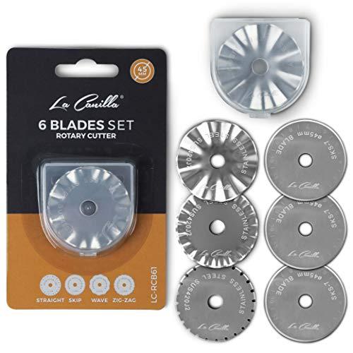 La Canilla 6 Cuchillas Surtidas de 45mm para Cutter Rotatorio compatible con Fiskars, Olfa y otros   Válidas para todo tipo de Telas, Patchwork, Vinilo, Scrapbooking, DIY, Costura y Manualidades