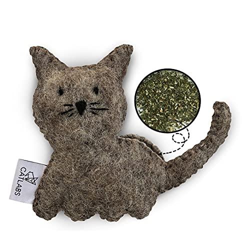 CATLABS nachhaltiges Katzenspielzeug 'Kuschelige Katze' mit Katzenminze | Faire Handarbeit für Deine Katze | Aus natürlicher Schafwolle ohne Polyester | Füllung aus 100% Katzenminze | Nachfüllbar