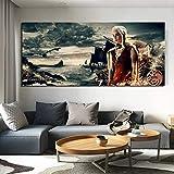 N / A Peinture sans Cadre Jeu Film Affiche Stickers Muraux Fantastique Art Dragon Affiche Toile Mur ArtZGQ6548 60x140 cm