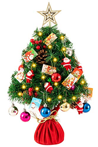 MoonLa 24' Tabletop Mini Christmas Tree Battery Operated with String Lights, Star Treetop & Ornaments, Best DIY Christmas Decorations