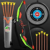 TMEI Bow and Arrow Set for Kids - Archery Toy Set - LED Light Up with 10 Suction Cup Arrows, Target & Quiver, Indoor and Outdoor Toys for Children Boys Girls
