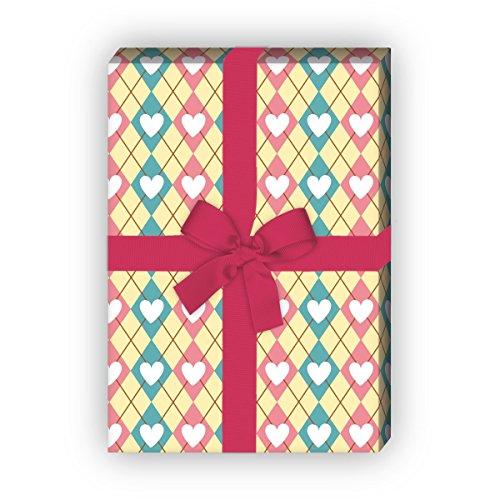 Set ruiten, set van 4 vellen, decoratief papier met hartjes, als luxe geschenkverpakking voor doop, geboorte, Pasen, verjaardag, bruiloft, Kerstmis en nog veel meer. 32 x 48 cm, op geel