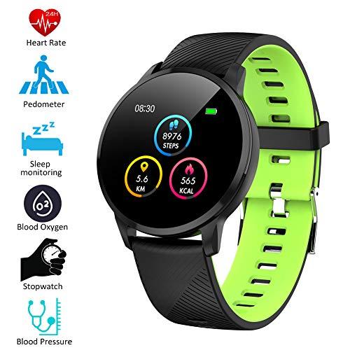 Padgene Smartwatch IP67 Impermeable Pantalla Color Pulsera Actividad Reloj Inteligente Deportivo con Monitor de Ritmo Cardiaco, Sueño, Notificación de Mensaje para Android e iOS (Negro Verde)