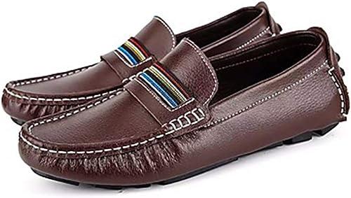 Calzaño de conducción for Hombre Cuero de Vacuno Mocasines Casuales y Hauszapatos sin Cordones TransPiñable negro marrón azul .Zapaños de Moda